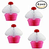 Holiday Pink and White Hanging Honeycomb Cupcake Decorations - Pack of 4 - Hanging Tissue Paper Cupcake Holiday Party Decorations. Perfect for Parties and Birthdays.