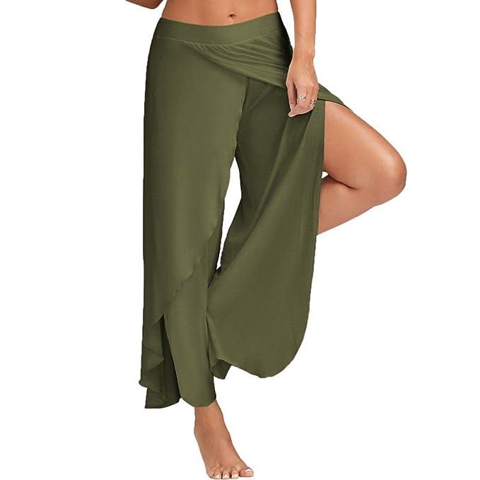 ad05ef155a4 JIANLANPTT Women Summer Loose Pants Sexy High Split Flowy Layered Yoga Palazzo  Pants Army Green M