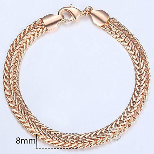 omen Men 585 Rose Gold Curb Snail Foxtail Venitian Link Chains Mens Bracelets 2018 Fashion Jewelry KCBB7 ()