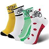 Lin Cycling Socks Coolmax Bike Socks Yellow Green White Red Polka Dots Running Hiking Biking Socks 4 Pack