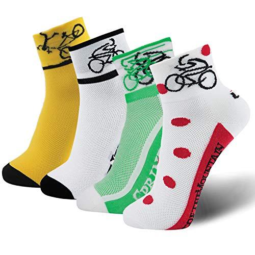 Lin Cycling Socks Coolmax Bike Socks Yellow Green White Red Polka Dots Running Hiking Biking Socks 4 Pack (Best Mountain Bike For Big Guys)
