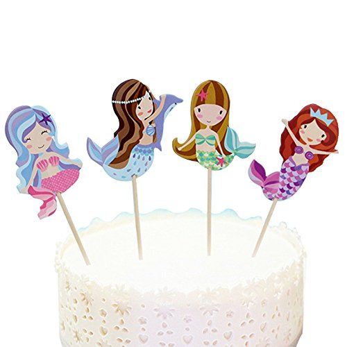 Joinor 24Pcs Mermaid Cupcake Muffin Topper Picks Cake Decoration Baby Shower Birthday (Cupcake Cakes Baby Shower)
