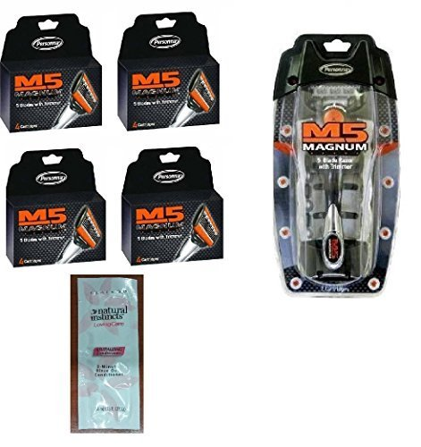 Personna M5 Magnum 5 Razor with Trimmer + M5 Magnum 5 Refill Razor Blade Cartridges, 4 ct. (Pack of 4) with FREE Loving Color trial size conditioner ()