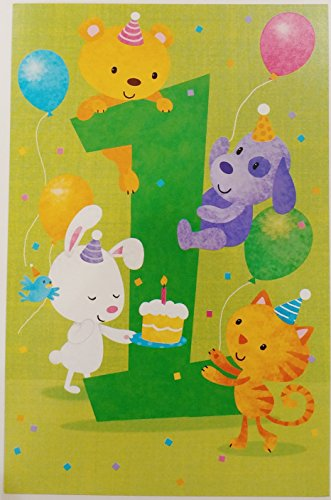 A Wish for a Sweet Little One Year Old - Happy 1st First Birthday Greeting Card (Unisex) ()