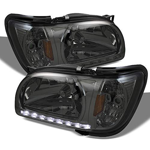 Fits 2001 2002 2003 2004 Toyota Tacoma Pickup Truck 1 Piece Smoked Headlights [w/Black Trim] Corner Signal Lamps