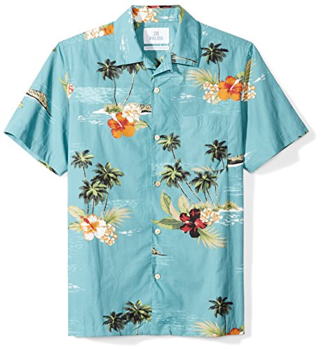 28 Palms Men's Standard-Fit Short-Sleeve 100% Cotton Hawaiian Shirt, Aqua Scenic, X-Small (Scenic Hawaiian Print Shirt)