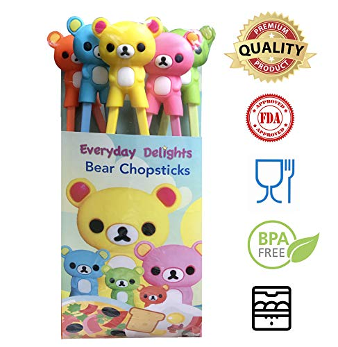 Everyday Training - Everyday Delights Bear Training Chopstick Utensil Set/Chop Sticks for Right or Left-handed Children, Kids, Teens, Adults, 5 pairs - Cute, Eco-friendly, Reusable, Durable