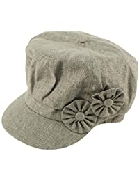 3b97cdfaa6253 Summer Floral Linen Cotton 8 Panel newsboy Gatsby Round Cabbie Cap Hat