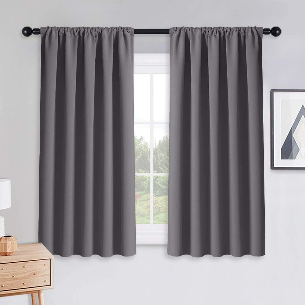 PONY DANCE Grey Blackout Curtains - Rod Pocket Drapes Thermal Insulated Panels Home Decor Window Treatments Draperies for Bedroom, 52 inch Wide by 45 inch Long, Grey, Sold as 1 Pair
