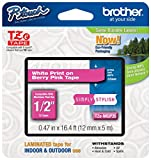 "Office Products : Brother P-touch ~1/2"" (0.47"") White on Berry Pink Standard Laminated Tape - 16.4 ft. (5m)"