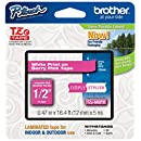 "Brother P-touch ~1/2"" (0.47"") White on Berry Pink Standard Laminated Tape - 16.4 ft. (5m)"