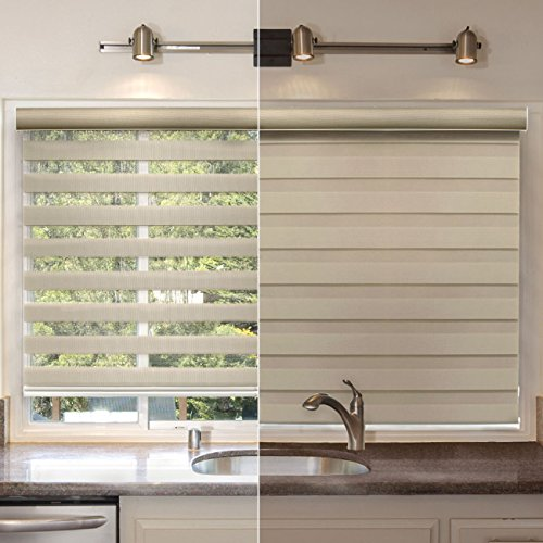 "CHICOLOGY Free-Stop Cordless Zebra Roller Shades Dual Layer Combi Window Blind 35"" W X 72"