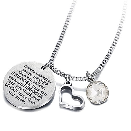 - 17mile April Birthstone Necklace Stainless Steel Engraved Hypoallergenic Heart Zirconia Necklace Charm for Woman Man Girl Mother