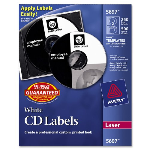 Cd Avery Label - Avery CD Labels, White Matte, 250 CD Labels and 500 Case Spine Labels (5697)