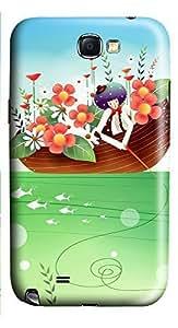 Samsung Note 2 Case Children Art Illustration 3D Custom Samsung Note 2 Case Cover WANGJING JINDA