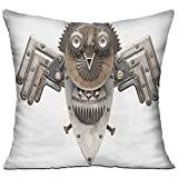 HAIXIA Industrial Stylized Collage With Owl Figure Cog Hardware Gear Machinery Animal Print Decorative Grey White Brown Coffee Shop Decor Throw Pillow Cover 18'' X 18''inch Double Side Print