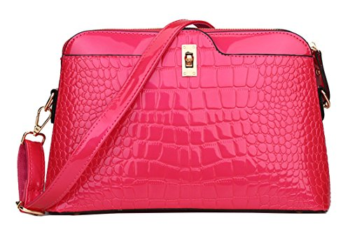 Fashion Red Bag Pattern Diagonal Handbags Shell Tote Seaoeey Shoulder Women's Crocodile Wine Rose P5wxzwSq