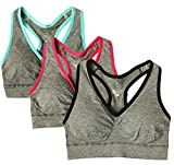 Cabales Women's 3-Pack Seamless Wireless Sports Bra with Removable Pads,Racerback-Grey,XX-Large