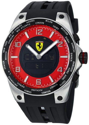 Ferrari World Time Red Multifunction Dial Rubber Strap Mens Watch FE-05-ACC-RD
