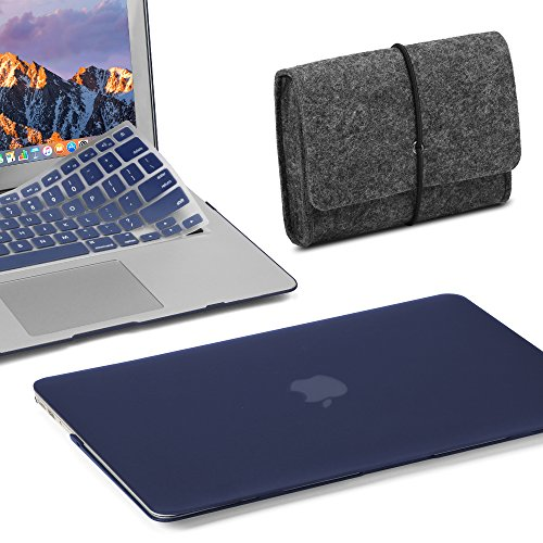 GMYLE 3 in 1 Bundle Felt Storage Pouch Bag & Navy Blue Set Soft-Touch Matte Plastic Hard Case with Keyboard Cover for MacBook Air 13 inch (Model: A1369/A1466)