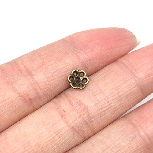 50 x Flower Beads Caps 6mm Antique Bronze Tone #MCZ675