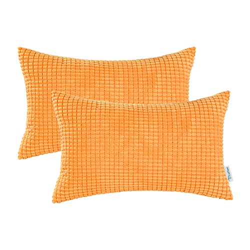 CaliTime Pack of 2 Comfy Bolster Pillow Covers Cases for Couch Sofa Bed Comfortable Supersoft Corduroy Corn Striped Both Sides 12 X 20 Inches Bright Orange
