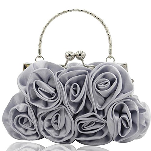 Party Women Handheld Gray Wedding Bags Pure Black Handbags Color Bag Satin Anyada Evening Rose Handbag Prom qdvZC