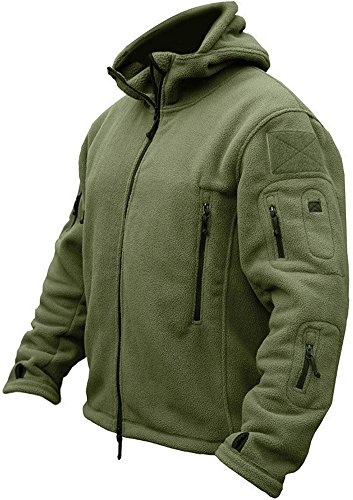 TACVASEN Men's Tactical Fleece Jacket (Large,Army Green)