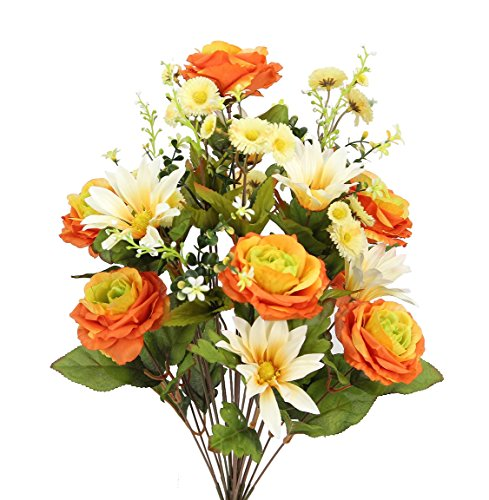 24 Mixed Roses Bouquet - Admired By Nature 2 Piece 24 Stems Home office/Wedding/Restaurant Decoration Arrangement Artificial Daisy/Rose Mixed Flowers Bush, Large, Orange/Cream Mix