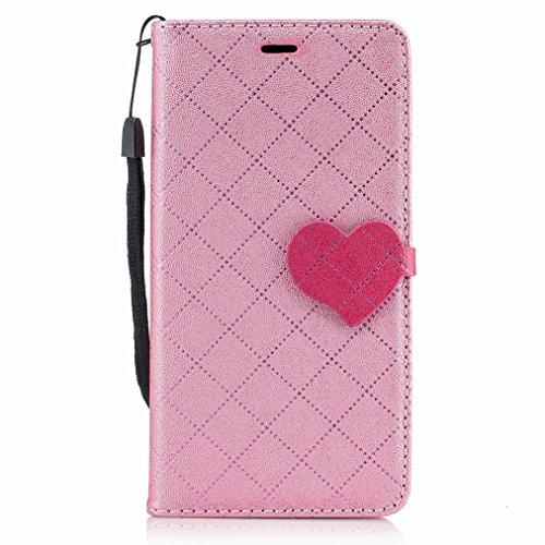 Yiizy LG K8 (2017) / LG X300 / LG M200N Custodia Cover, Amare Design Sottile Flip Portafoglio PU Pelle Cuoio Copertura Shell Case Slot Schede Cavalletto Stile Libro Bumper Protettivo Borsa (Rosa)