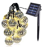 dephen LED Solar String Lights, Warm White, 20 Globe Moroccan Balls, 15ft LED Fairy String Lights, Solar Powered Lantern, Christmas Strand Lighting for Outdoor,Garden,Yard,Patio,Party,Home Decoration