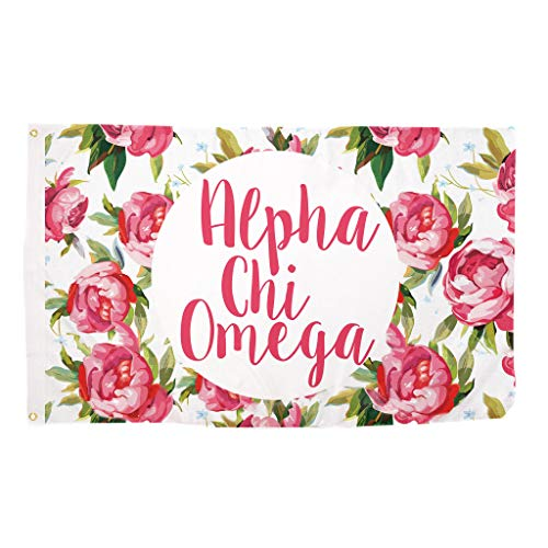 Alpha Chi Omega Rose Pattern Letter Sorority Flag Greek Letter Use as a Banner Large 3 x 5 Feet Sign Decor AXO