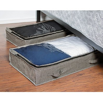 Arrow Weave Underbed Bags Linen and Clothing Storage in Grey (Set of 2)