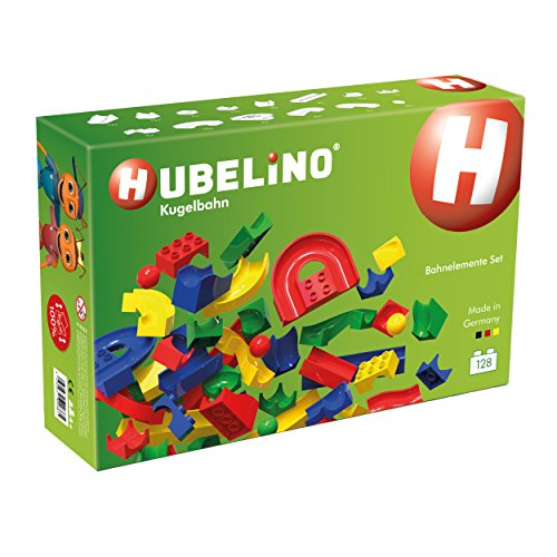 HUBELINO Marble Run - 128-Piece Run Elements Expansion Set - the Original! Made in Germany! - Certified and Award-Winning Marble Run - 100% compatible with Duplo by Hubelino