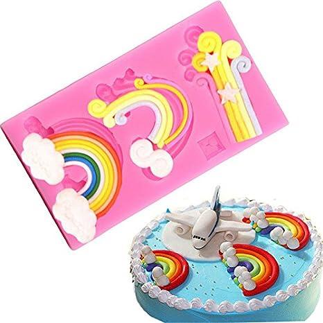 JUNGEN Molde de silicona para pastel Forma de arco iris moldes para hornear Decoracion Tartas Pasteles DIY jabón moldes: Amazon.es: Hogar