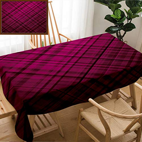 - Unique Custom Design Cotton and Linen Blend Tablecloth Pink and Black Scottish Kilt Design Pattern with Stripes Lines Squares Ombre Image BurgundTablecovers for Rectangle Tables, Large Size 86