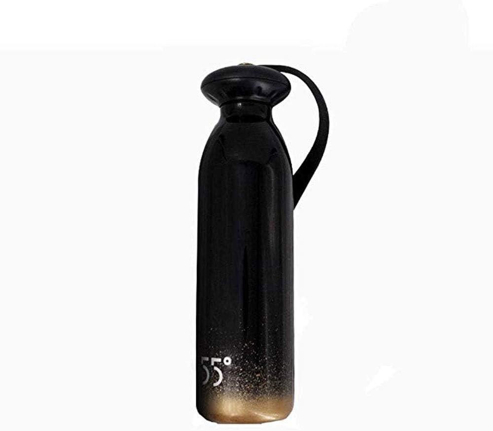JJSFJH サーマルフラスコポータブルリークプルーフデザインスチールハンドウォーターカップ人格マグシンプルアウトドアトラベルポットステンレススチールスポーツシンプルでクリエイティブなステンレススチール複数のサイズ色 (Color : Black)