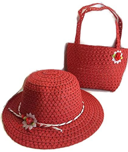[Girls Tea Party Hat and Purse Dress Up Set - Red] (Red Dancing Girl Emoji Costume)