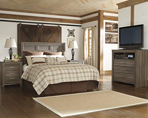 FurnitureMaxx Juararoy Casual Dark Brown Color Replicated Rough-Sawn Oak Bed Room Set, King Panel Headboard, Media Chest, Two Nightstands