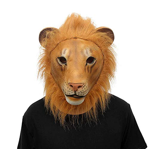 Tuscom Lion Mask Latex Costume Mask,for Halloween Adult Kid's Costume Accessory Mask,Collectible Prop Animal Mask Toy - High Family Dolls Wolf Monster