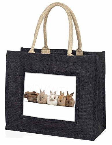 Advanta–Große Einkaufstasche niedlich Kaninchen Große Einkaufstasche Weihnachtsgeschenk Idee, Jute, schwarz, 42x 34,5x 2cm