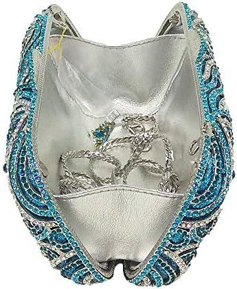 XLJJB Étincelle Diamant Cristal Femmes Bleu Soirée Bourse Évider De Mariée Sac À Main De Mariage en Métal Minaudière Embrayage Sac7