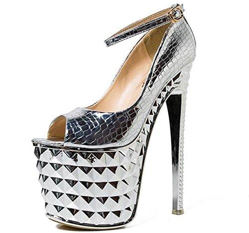 aiguille SILVER XIE de Chaussures Mariage à Plate sandales 35 Doigt Ouvrir Talon pied Des femmes soirée EU35 et Fête forme Taille Pompes pour club 41 8FnIWFg