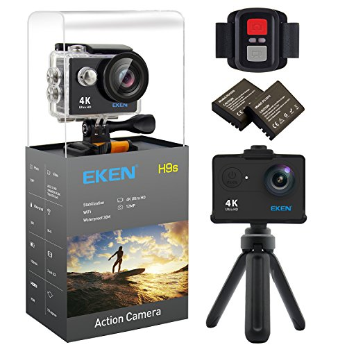 EKEN H9s 4K Action Camera, Full HD Wifi Waterproof Sports Camera with 4K25/ 1080P60/ 720P120fps Video, 12MP Photo and 170 Wide-Angle Lens, includes 17 Mountings Kit, 2 Batteries (Black) Action Cameras EKEN
