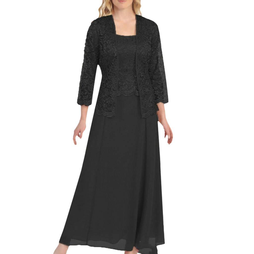 Aniywn Women Plus Size Two Piece Long Sleeve Party Dress Lace Solid Color Elegant Long Maxi Dress Mini Dress