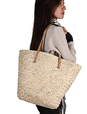 Summer Beach Straw Shoulder Bag Casual Comfortable Eco-Friendly Handbag Tote With Leather Straps (Plain Beige)