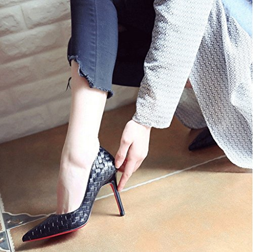 Female Vintage High Heels Sexy Stiletto Heel Sandals Summer Fashion Shallow Mouth Pointed-Toe Shoes (Color : Black, Size : 35)