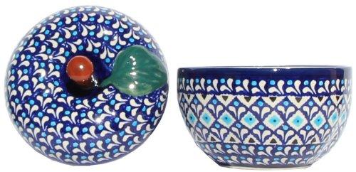 "Polish Pottery Apple Baker From Zaklady Ceramiczne Boleslawiec #1425-217a Classic Pattern, Dimensions: Width: 4.9"" Height: 4.7"""