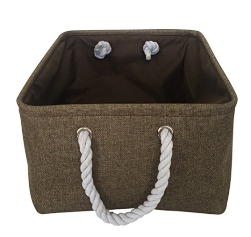 HIYAGO Rectangle Fabric Bin Storage Basket with Rope Handles for Clothes Storage,Laundry,Toy Organizer,Pet Toy Storing,Kids Basket Baby Nursery(brown) - Material:Canvas Farbic Size:L 15.7 x W 11.8 x H 7.8 inches Multiuse storage box, for cosmetics,books,toys,coins,album,fruit,underware, baby clothes and other small sundries. Utility and suitable for office,home . Fits in your office table, bedroom, living room , closet, shelves or anywhere in the house. Rope handle for easy slide in and pull out of shelves or cabinet - living-room-decor, living-room, baskets-storage - 51buowOr52L -