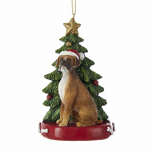 Kurt Adler BOXER WITH CHRISTMAS TREE ANE LIGHTS ORNAMENT FOR PERSONALIZATION -